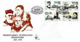 South West Africa - 1989 German Missionaries FDC # SG 503-506 , Mi 633-636 - Afrique Du Sud-Ouest (1923-1990)