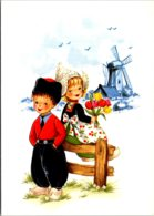 Holland Dutch Kids In Local Costume With Windmill - Costumes