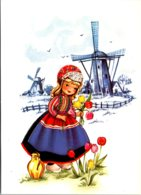 Holland Dutch Girl In Local Costume With Windmill - Costumes