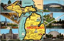 Michigan With Map And Multi Views 1953 - Etats-Unis