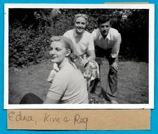 """PHOTO Photographie Amateur 2 Femmes 1 Homme """"Edna"""" """"Kim"""" & """"Req"""" ** Snapshot - Personnes Identifiées"""