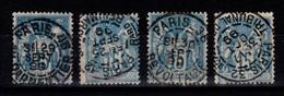 4 Obliterations De Paris Plein Centre Sur YV 101 TTB - 1876-1898 Sage (Tipo II)
