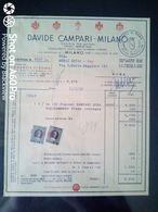 FATTURA COMMERCIALE (CAMPARI SODA) - DAVIDE CAMPARI MILANO - AGENZIA DI ROMA - 1955 - Italy