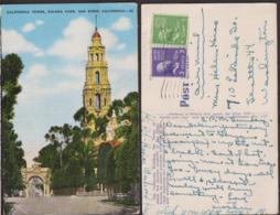 Postcard - USA - 1951 - California Tower - Balboa Park - Circulee - A1RR2 - San Diego