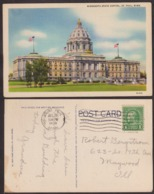 Postcard - USA - 1938 - Minnesota State Capitol - Circulee - A1RR2 - St Paul