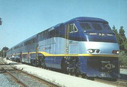 RAIL RAILROAD TRAIN LOCOMOTIVE AMTRAK F59PHI SACRAMENTO CALIFORNIA USA UNITED STATES OF AMERICA * Top Card 1132 Hungary - Trenes