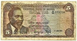 Kenya - 5 Shillings - 1 JULY 1969 - Pick 6.a - Serie A/34 - President Jomo Kenyatta - Kenya