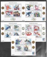 Norway   1989-93   Sc#946, 984, 997, 1021, 1035  Olympics Souv Sheets  MNH  2016 Scott Value $49 - Norwegen