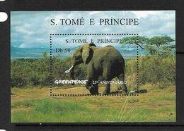 SAO.TOME 1996 ELEPHANTS-GREENPEACE  YVERT N°B163AC NEUF MNH** - Elephants