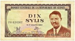 GUINEA - 10 SYLIS - 1971 - P 16 - Serie FO - Républic De Guinée - Guinea