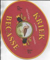 PUBLICITE OVALE  CARTONNEE  KRIEK Lambic Aux Cerises Macérées De La BECASSE - Pubblicitari