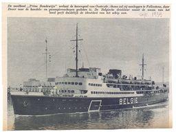 Orig. Knipsel Coupure Tijdschrift Magazine - Oostende - De Mailbot Prins Boudewijn Vaart Uit  - 1939 - Unclassified