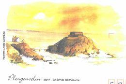 AQUARELLE DE  JOELLE GARREAU, LE FORT DE BERTHEAUME A PLOUGONVELIN FINISTERE, PAP ENTIER POSTAL FLAMME GUILERS 2008 - Arte