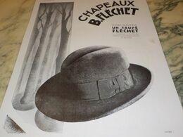 ANCIENNE PUBLICITE CHAPEAU UN TAUPE DE FLECHET  1930 - Altri