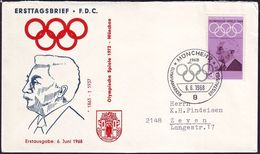 Germany - 1968 - Olympic Games 1968 - FDC - Coubertin - Zomer 1968: Mexico-City