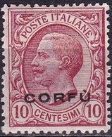 Ionian Islands  1923 Overprint CORFU In Black On Italian Stamps 10 Cents Red Vl. 2 MH - Isole Ioniche