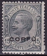 Ionian Islands  1923 Overprint CORFU In Black On Italian Stamps 15 Cents Black Vl. 3 MH - Isole Ioniche