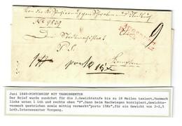 1849: Portobrief Mit Taxkorrektur: Brief Ab Augsburg - Bavière
