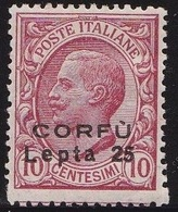 Ionian Islands  1923 Overprint CORFU 25 Lepta In Black On Italian Stamps 10 Cents Red Vl. 9 MNH Superb !! - Isole Ioniche