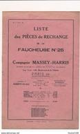 Brochure Liste Des Pièces De Rechange De La FAUCHEUSE N° 25 Cie MASSEY HARRIS ( Matériel Agricole Agriculture ) - Machines
