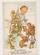 Carte Humoristique/ Le Sculpteur : Comment Faire Une Grande Oeuvre Dans De Telles Conditions!!! (singe , Chien, Chat , . - Humorous Cards