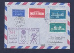 Germany Flightcover 1972 Sapporo Olympic Games - Frankfurt Am Main Noch 555 Tage Bis Zum Olympiade (G114-26) - Winter 1972: Sapporo