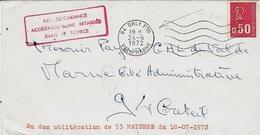 """24-6-72 - Enveloppe De 94 - Orlypour Créteil ( 94 ) """" CORRESPONDANCE / ACCIDENTELLEMENT RETARDEE / DANS LE SERVICE """" - Marcofilie (Brieven)"""