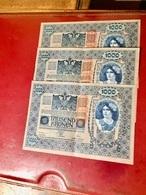 Lot  De  3  BILLETS  De  1.000  Kronen  1902  Surcharge  Rouge - Austria