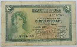 Billete 1935. 5 Pesetas. República Española. Pre Guerra Civil. Sin Serie. SS. BC - [ 2] 1931-1936 : Republiek