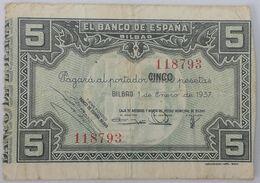 Billete 1937. 5 Pesetas. Bilbao. República Española. Guerra Civil. SS. Sin Serie. MBC. Caja De Ahorros Y Monte De Piedad - [ 2] 1931-1936 : Repubblica