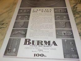 ANCIENNE PUBLICITE BIJOUX CADEAU DE NOEL BURMA  1930 - Manifesti