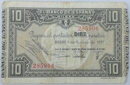 Billete 1937. 10 Pesetas. Bilbao. República Española. Guerra Civil. SS. Sin Serie. MBC. Caja De Ahorros Y Monte De Pieda - [ 2] 1931-1936 : Repubblica