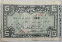 Billete 1937. 5 Pesetas. Bilbao. República Española. Guerra Civil. SS. Sin Serie. MBC. Banco De Vizcaya. Banco De España - [ 2] 1931-1936 : Republiek