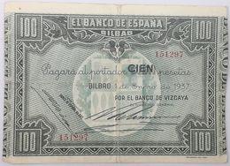 Billete 1937. 100 Pesetas. Bilbao. República Española. Guerra Civil. SS. Sin Serie. MBC. Banco De Vizcaya. Banco España - [ 2] 1931-1936 : Repubblica