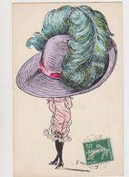 Carte Fantaisie Signée G.Mouton / Femme En Tenue Légère . Mode .très Grand Chapeau - Otros Ilustradores