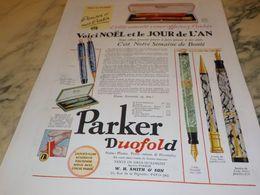 ANCIENNE PUBLICITE VOICI NOEL STYLO PLUME PARKER 1930 - Autres Collections