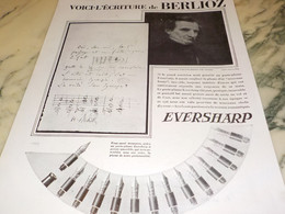 ANCIENNE PUBLICITE PORTE PLUME EVERSHARP ECRITURE DE BERLIOZ 1930 - Autres Collections