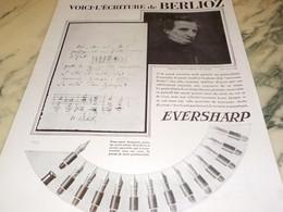 ANCIENNE PUBLICITE PORTE PLUME EVERSHARP ECRITURE DE BERLIOZ 1930 - Altri