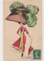Carte Fantaisie Signée G.Mouton / Femme élégante . Mode .très Grand Chapeau - Otros Ilustradores