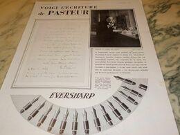 ANCIENNE PUBLICITE PORTE PLUME EVERSHARP ECRITURE DE PASTEUR 1930 - Autres