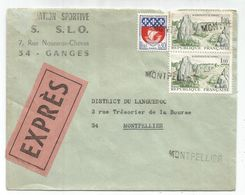 BLASON 30C 1FR CARNAC PAIRE  ANNULATION GRIFFE MONTPELLIER EN ARRIVEE LETTRE DE GANGES 1967 - 1941-66 Escudos Y Blasones