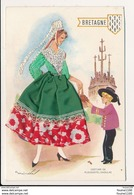 Carte Brodée  Illustrateur Mairata ( Costume Folklore Plougastel Daoulas Bretagne )( Format 15 X 10 Cm   ) Recto Verso - Brodées