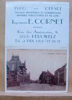 """Pu. 191. Imprimerie E. CORNET, Rue Des Américains, Péruwelz Avec Photo """"rue De La Station"""" - Cartoncini Da Visita"""