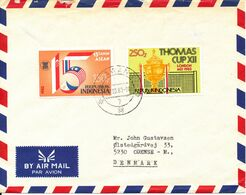 Indonesia Air Mail Cover Sent To Denmark Lawang 7-3-1983 Topic Stamps (there Is A Tear At The Top Of The Cover) - Indonesië