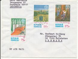 Indonesia Cover Sent Air Mail To Denmark 1984 With FAO Stamps - Indonesië