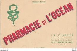 Buvard Publicitaire Sur La Pharmacie De L' Océan Chartier Rue Du Général De Gaulle à Saint Brévin 44 - Buvards, Protège-cahiers Illustrés