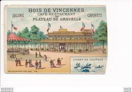 Chromo Bois De Vincennes Café Restaurant Du Plateau De Gravelle Champ De Course ( Laas ) ATTENTION Bord Droit Recoupé - Altri