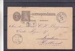 Suisse - Lettre De 1876 - Oblit Martigny Bourg - Exp Vers Leiden - Cachet A.4 - Valeur 25 Euros - 1862-1881 Helvetia Assise (dentelés)