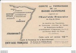 Carte Publicitaire Pour Les Sinistrées Du Canton De NIEDERBRONN LES BAINS Hagueneau Aulnat Esteil Saint Floret - Niederbronn Les Bains