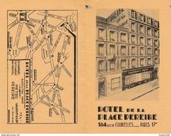 Publicité ( Format Déplié 16 X 12,5 Cm ) Hôtel De La Place Pereire 184 Rue De Courcelles à PARIS 17e ( Plan De Métro ) - Cartoncini Da Visita